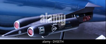Model of the Thrust SSC, Supersonic Car 1997. Thrust SSC holds the World Land Speed Record and was the first car - Stock Photo