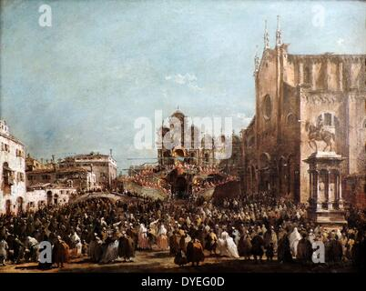 Pope Pius VI blessing the People of Venice by Francesco Guardi 1782 A.D. - Stock Photo