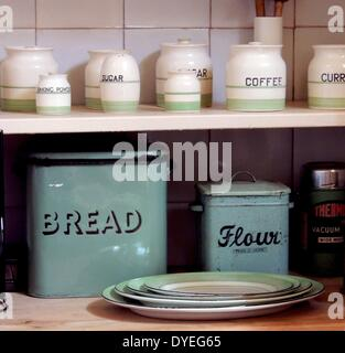 Selection of 1920's jars and tins A.D. - Stock Photo
