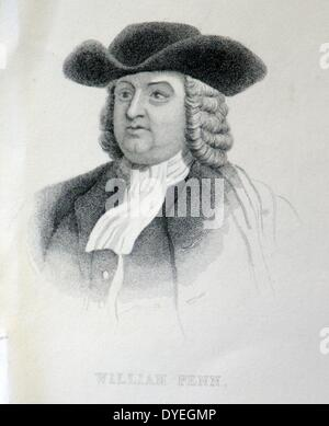 William Penn (1644-1718) was an English real estate entrepreneur, Philosopher, early Quaker and founder of the Province - Stock Photo