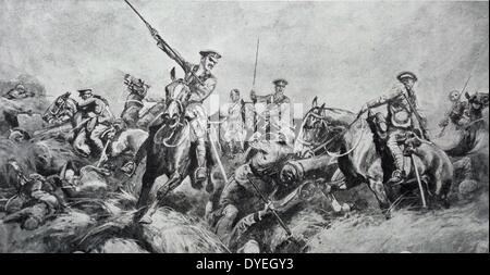 The British Expeditionary Force lancers charging German positions - Stock Photo