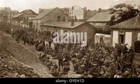 The British Expeditionary Force arrives in Belgium - Stock Photo