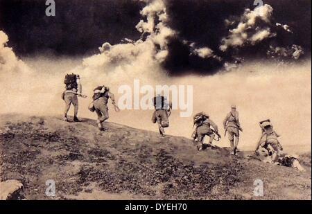 First World War, Austrian soldiers charging down on an Italian patrol. - Stock Photo