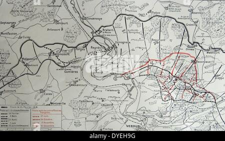 French map showing the changing positions in The Battle of Verdun - Stock Photo