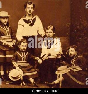 King Edward VII, Prince George, the princess Royal Louise and Princess Maud - Stock Photo