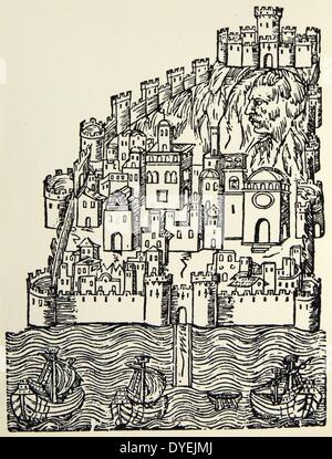 The Spanish city of Valencia depicted in a woodcut of the 16th century - Stock Photo