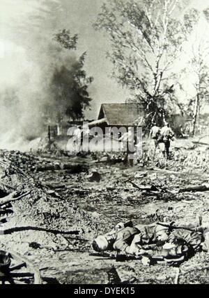 German forces enter Karamanova in the region of Smolensk, Russia 1942 - Stock Photo