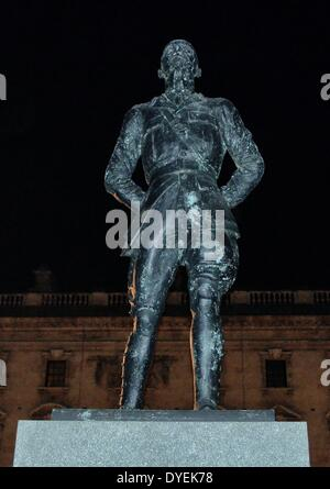 Night-time View of Field Marshal Jan Christian Smuts  Statue London 2013. - Stock Photo