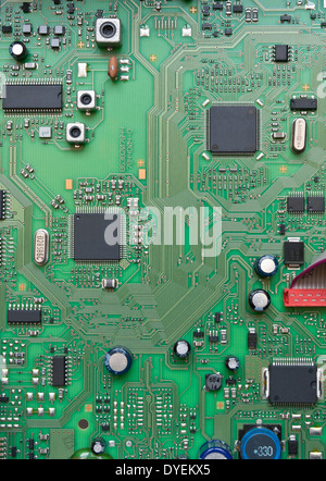 Detail of integrated circuit board with chip - Stock Photo