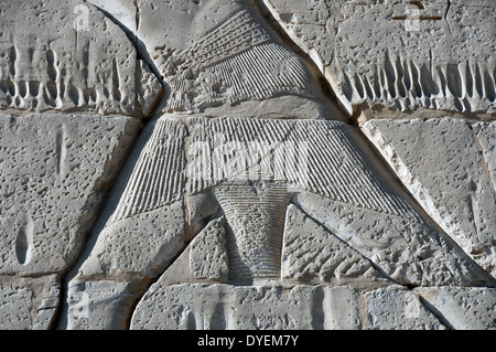 Temple of Ramses III (1198-1167 b.C. – XX° Dyn.) at Medinet Habu: the shendit of the King. - Stock Photo