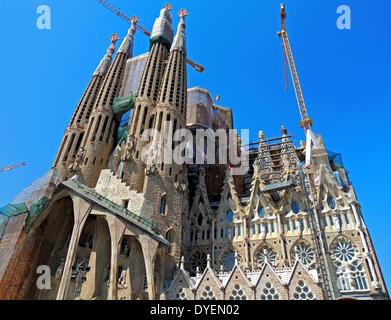 Sagrada familia Cathedral in Barcelona. The Basilica i Temple Expiatori de la Sagrada Familia, Roman Catholic church - Stock Photo