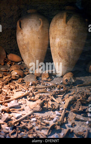 Jericho Tomb G1 (Bronze age tomb from 1700BC rediscovered in the 1950's. contains alabaster jars, bones and wooden - Stock Photo
