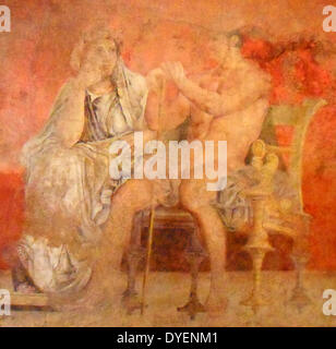 Wall painting depicting a conversation, from Room H of the Villa of Fannius Synistor at Boscoreale. ca. 50–40 B.C. - Stock Photo