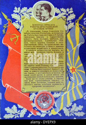world war two patriotic poster showing Stalin and Lenin with a text about the glory  of the patriotic Red Army - Stock Photo