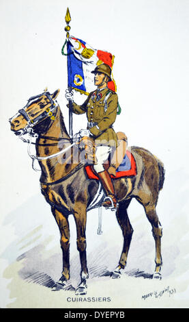 French world war two postcard showing a cavalry officer with banner - Stock Photo