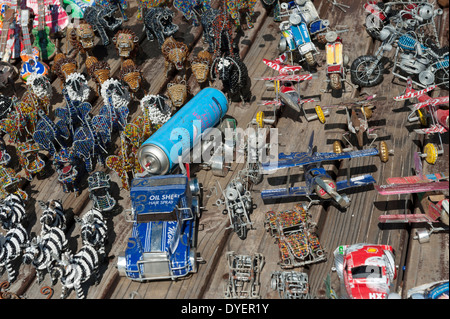 Craft display of tin made cars and animals made from wire and glass beads, Simon's Town, Western Cape, South Africa - Stock Photo