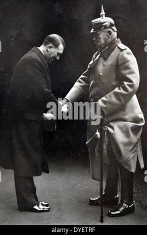 President Paul Von Hindenburg with Chancellor Adolf Hitler in 1933.  Hindenburg (1847 – 2 August 1934) was a Prussian - Stock Photo