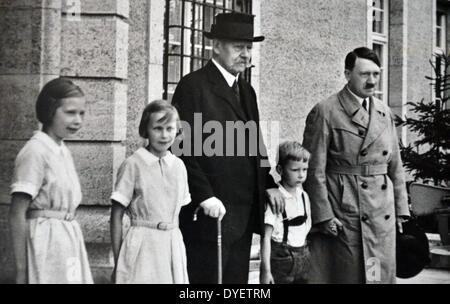 President Paul Von Hindenburg with Adolf Hitler in 1929.  Hindenburg (1847 – 2 August 1934) was a Prussian-German - Stock Photo