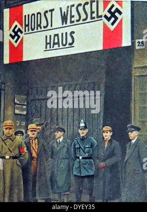 Nazi's gather in front of the Horst Wessel House. Horst Ludwig Wessel (October 9, 1907 – February 23, 1930) German - Stock Photo