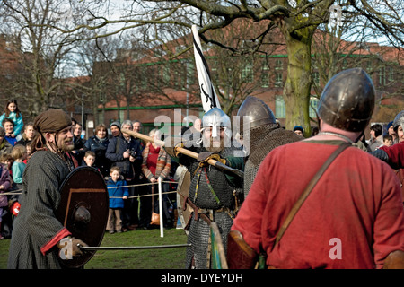 Vikings and Anglo Saxon warriors Jorvik Viking Festival York North Yorkshire England UK United Kingdom GB Great - Stock Photo