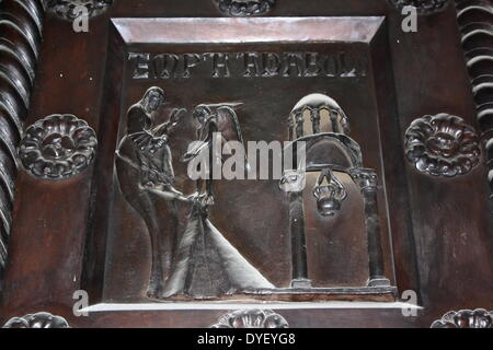 Detail from Bronze doors with scenes from the Old and New Testament in relief. Made at the order of St. Bernward, - Stock Photo