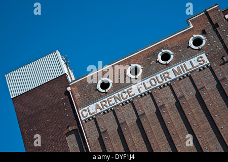 Close up of Disused Clarence Flour Mills at Drypool Bridge Kingston-upon-Hull East Yorkshire England UK United Kingdom - Stock Photo