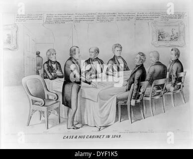 Cass & his cabinet in 1849 by Henry Robinson, 1848. Lithograph print on wove paper. Political cartoon satirising - Stock Photo