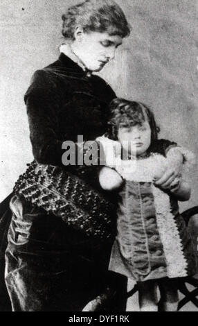 Winston Churchill 1875-1965, during early years four year old Churchill, full-length, standing, held by mother, - Stock Photo