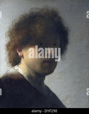 Rembrandt van Rijn, Self Portrait as a Young Man (c. 1628-29), oil on panel, Amsterdam - Stock Photo