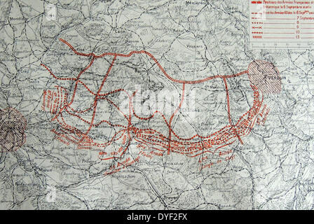Map showing the progressive positions the French and British forces at the First Battle of the Marne was conducted - Stock Photo