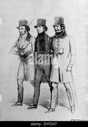 The Three Singles, a 19th century illustration showing Lord Brougham with the Earl of Mansfield on his right arm - Stock Photo