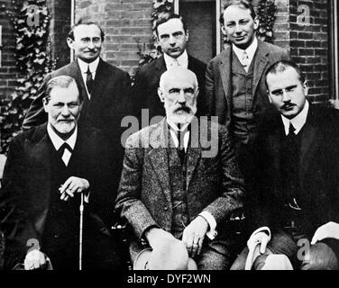 Photograph of Sigmund Freud, Carl Jung and Sándor Ferenczi along with other members of the growing world of psychoanalysis, - Stock Photo