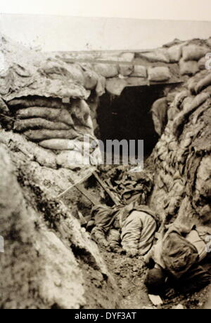 A photograph from the First World War, showing the trenches. - Stock Photo