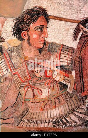 Fragment from the 'Alexander Mosaic' showing Alexander the Great in battle against Persian King Darius III. Alexander - Stock Photo