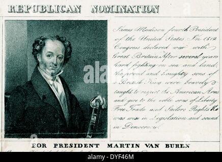 National Democratic Republican nomination print  featuring portraits of Martin Van Buren and Richard Johnson. - Stock Photo