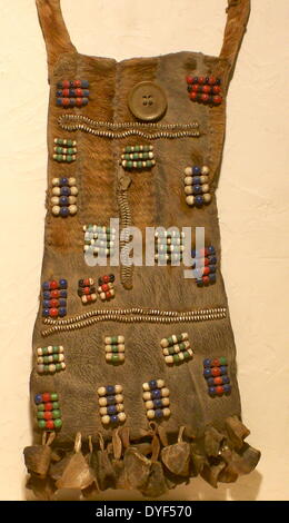 Decorated loincloth, with zip-fasteners,  worn by Turkana tribeswoman from Kenya, East Africa. - Stock Photo