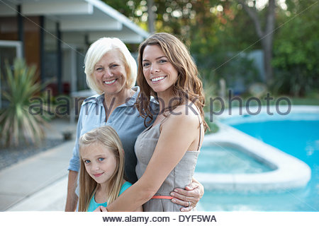 Three generations of women smiling together - Stock Photo