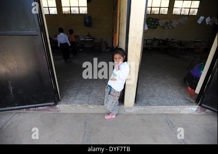 Maya Indigenous girl in Mano de Leon, Sacatepequez, Guatemala. - Stock Photo
