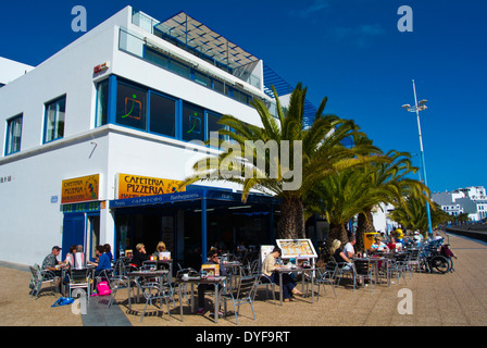 REstaurant terraces, Charco de San Gines lake, Arrecife, Lanzarote, Canary Islands, Spain, Europe - Stock Photo