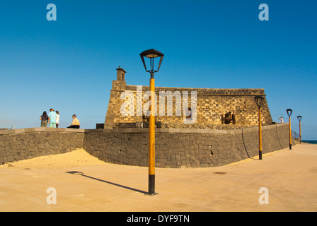 Castillo San Gabriel castle, housing Museo de Historia de Arrifice, city museum, Arrecife, Lanzarote, Canary Islands, - Stock Photo