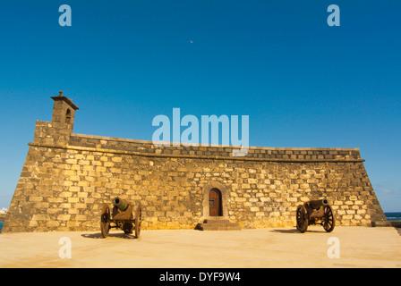 Castillo San Gabriel castle, housing Museo de Historia de Arrifice, city museum, Arrecife, Lanzarote, Canary Islands, - Stock Photo