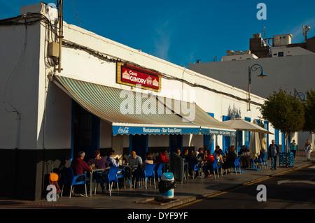 Cafe, Puerto de Naos port, Arrecife, Lanzarote, Canary Islands, Spain, Europe - Stock Photo