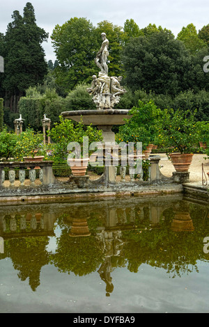Oceanus Fountain 1576 in Boboli Gardens, Florence, Italy - Stock Photo