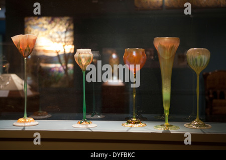 A group of Tiffany glasses in The Metropolitan Museum of Art, New York - Stock Photo