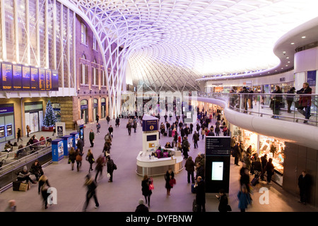 The interior of Kings Cross Railway Station in London, England - Stock Photo