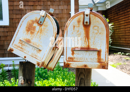 Old metal letter boxes. - Stock Photo