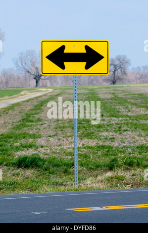 Directional traffic sign at road's end near Chestertown, Maryland, USA. - Stock Photo