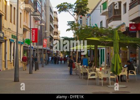 Calle Leon y Castillo main pedestrian street, Arrecife, Lanzarote, Canary Islands, Spain, Europe - Stock Photo