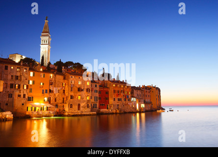 Rovinj old town in Croatia at sunset - Stock Photo