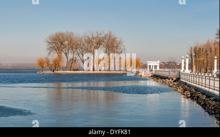 Ternopil waterfront with Lovers Island at spring